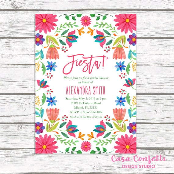 fiesta bridal shower invitation cinco de mayo bridal shower