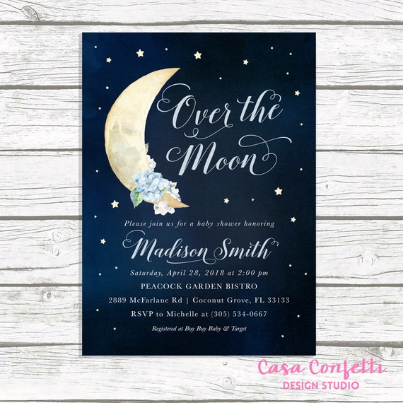 Over The Moon Baby Shower Invitation Moon And Stars Baby Etsy