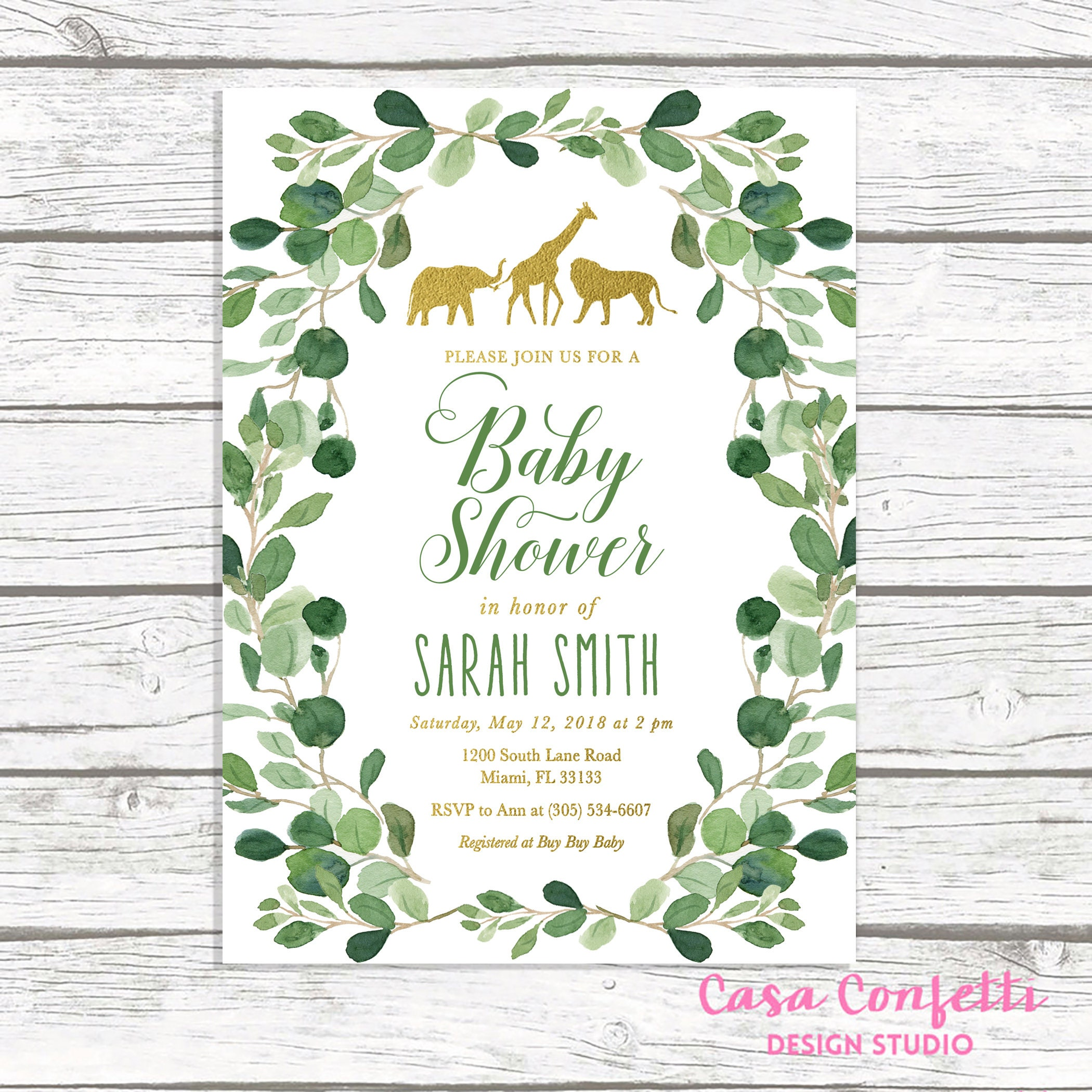 Safari Baby Shower Invitation, Gold Safari Baby Shower Invitation ...