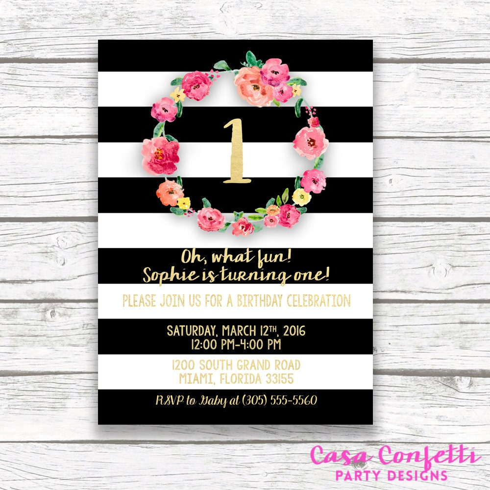 Pink And Gold Birthday Invitation Stripe First Invite Gallery Photo