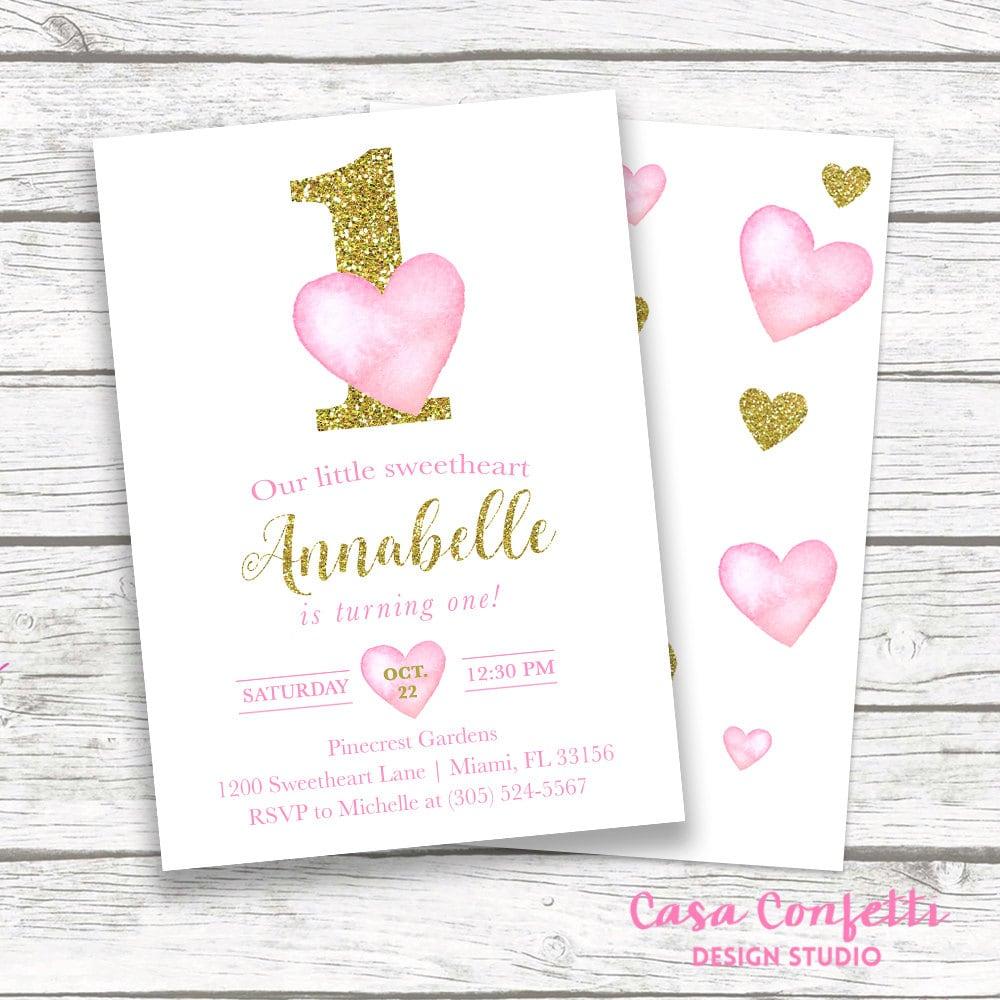 Valentines Day Birthday Invitation Heart Birthday Invitation Etsy