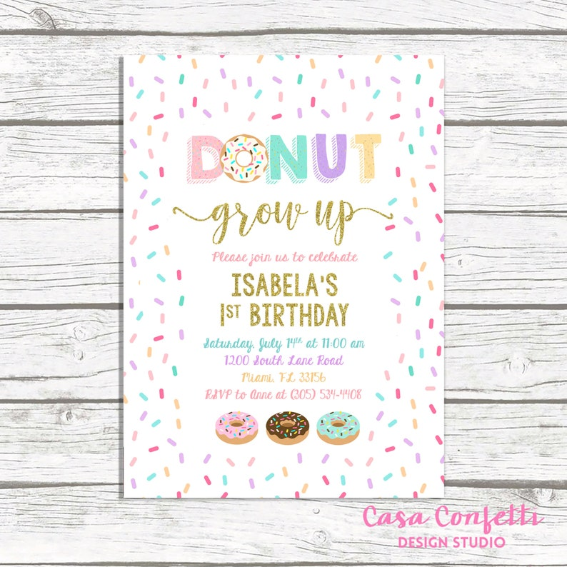 Donut Birthday Invitation Doughnut