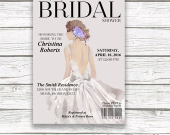 Couture Bridal Shower Invitation, Fashion Magazine Invite, Watercolor Bride Illustration, Gray Classic, Wedding Dress, Printed or Printable