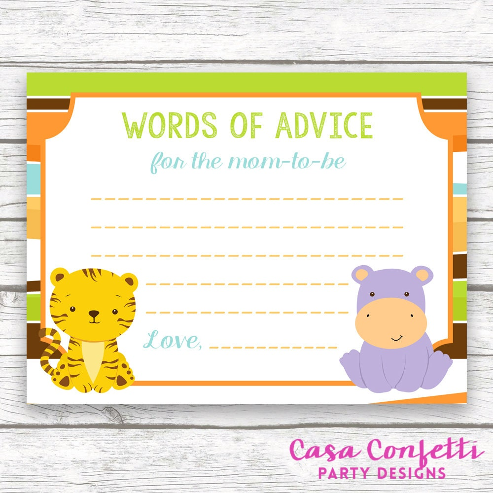 Safari Jungle Baby Shower Advice For Mom To Be Wishes For Baby Card
