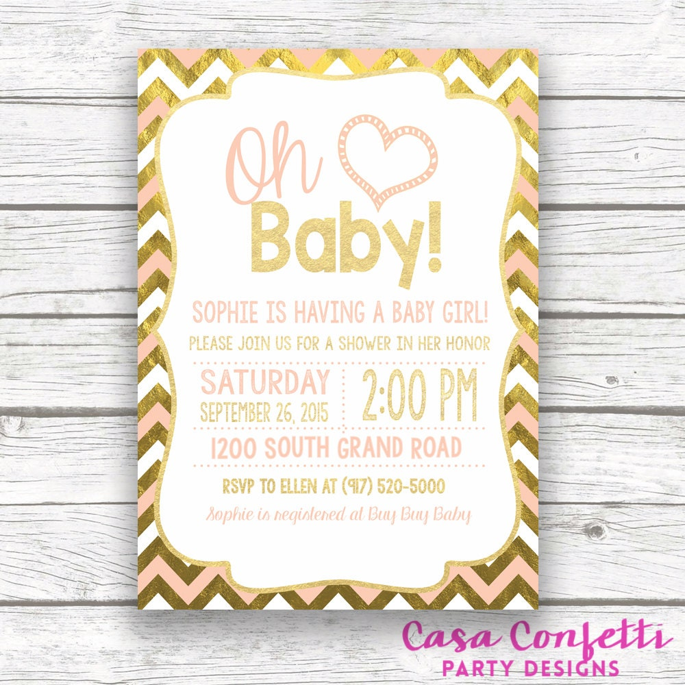 Oh Baby Peach And Gold Foil Chevron Baby Shower Invitation Pink