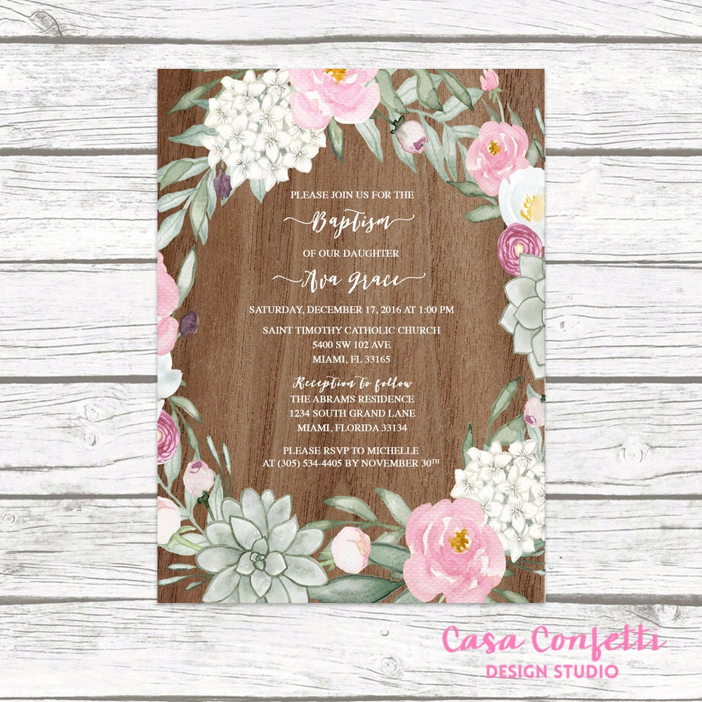 rustic baptism invitation girl succulent christening invitation