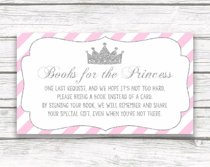 Bring a Book Instead of a Card Baby Shower Insert, Pink and Silver Glitter Princess, Stock Baby's Library, Printable Girl Shower Invitation