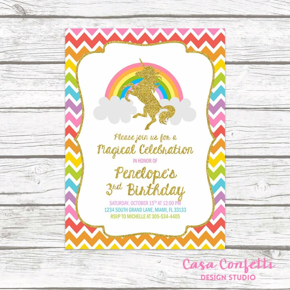 unicorn invitation unicorn birthday invitation rainbow unicorn