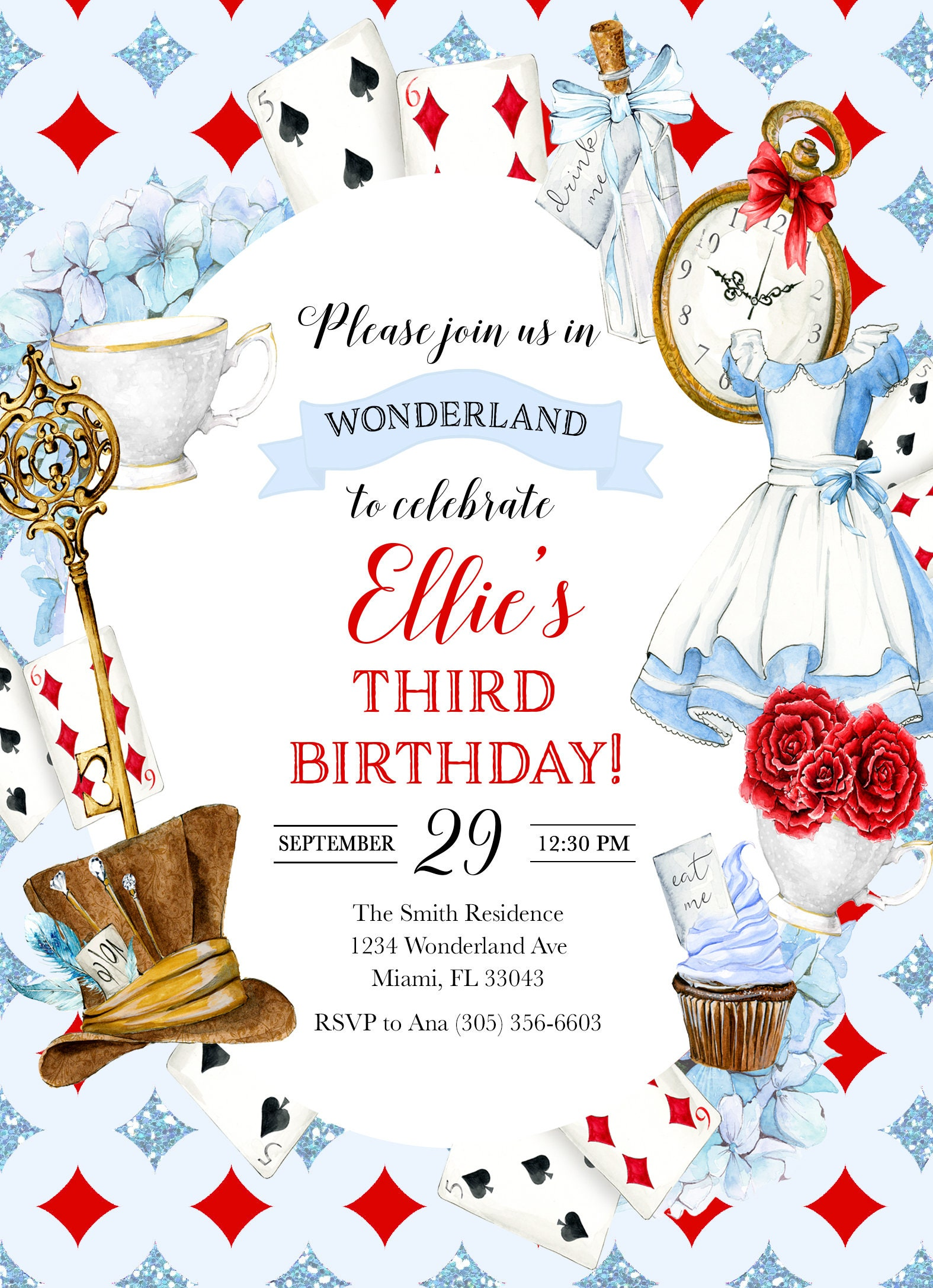 alice in wonderland invitation  wonderland birthday