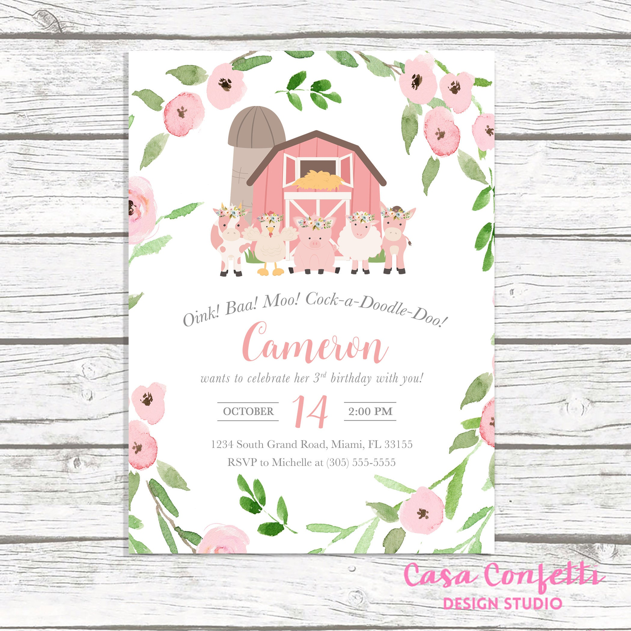 Farm Birthday Invitation Girl, Farm Birthday Party Invitation, Pink ...