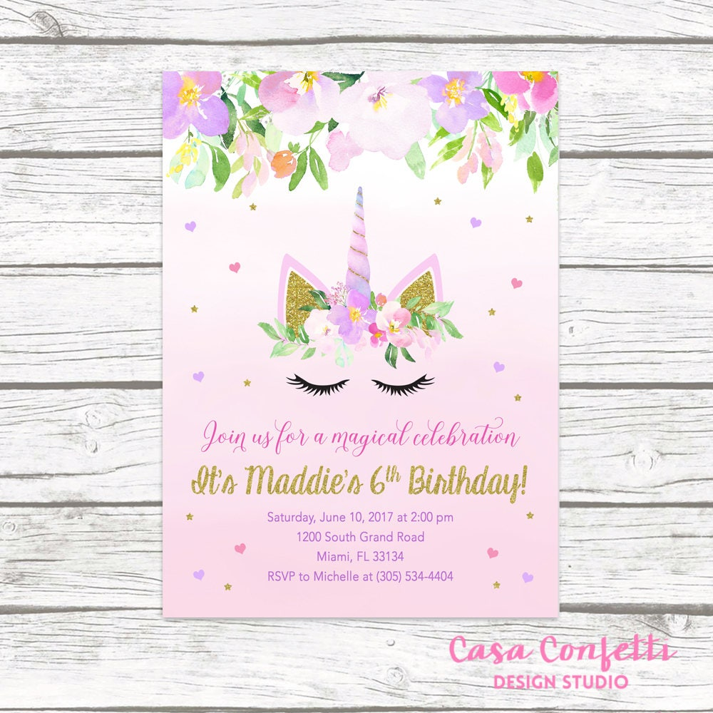 Unicorn Invitation Unicorn Birthday Invitation Unicorn Face