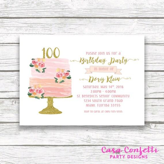 100th birthday invitation cake birthday invitation etsy