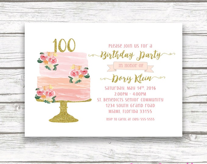 100th Birthday Invitation, Cake Birthday Invitation, Watercolor Birthday Invitation, Cake Topper Invitation, Floral Cake Invite Printable