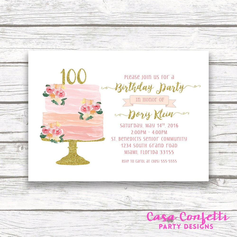 100th Birthday Invitation Cake Watercolor Topper Floral Invite Printable