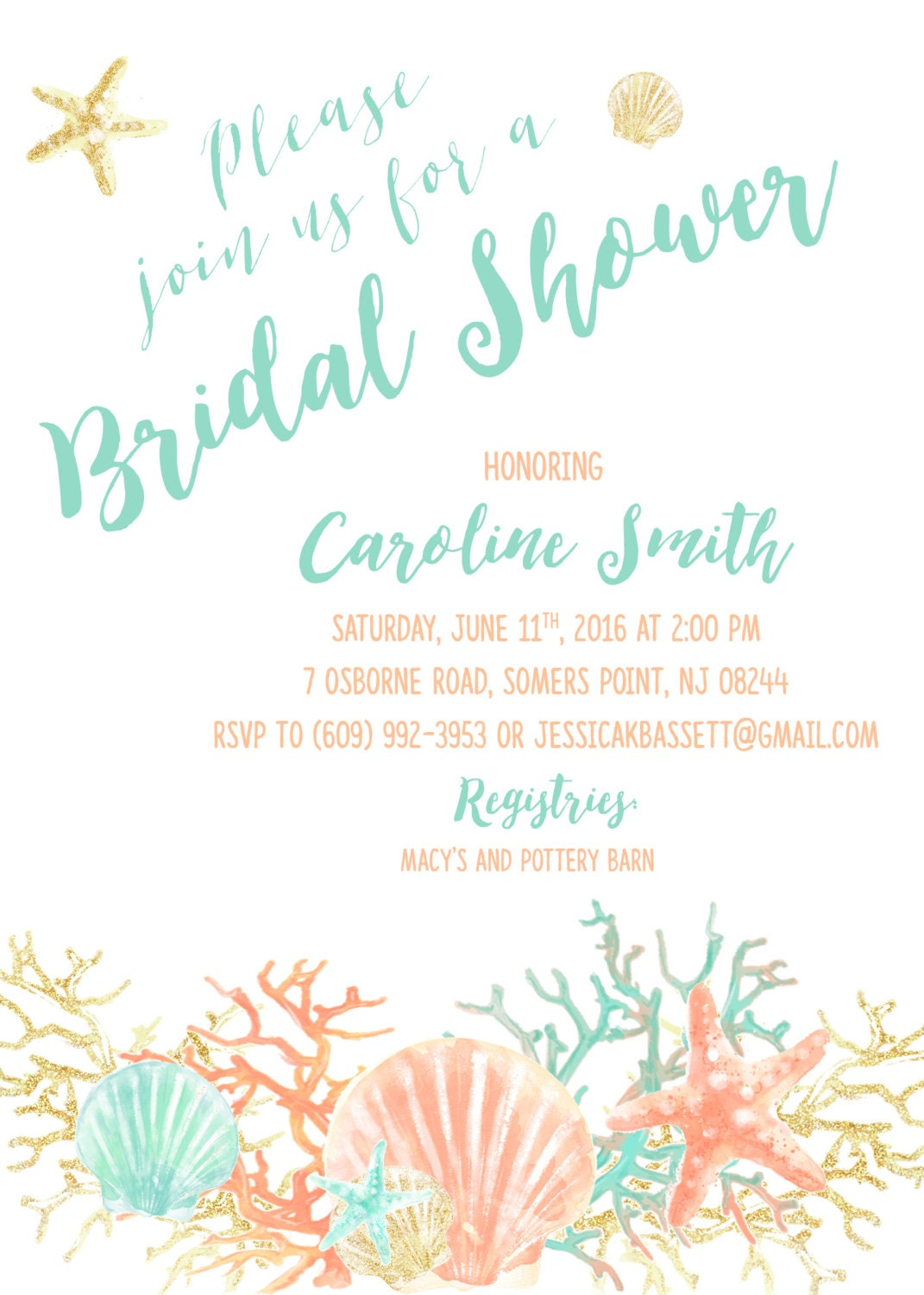 beach bridal shower invitation coral starfish bridal shower invite boho destination wedding turquoise and gold printable invitation