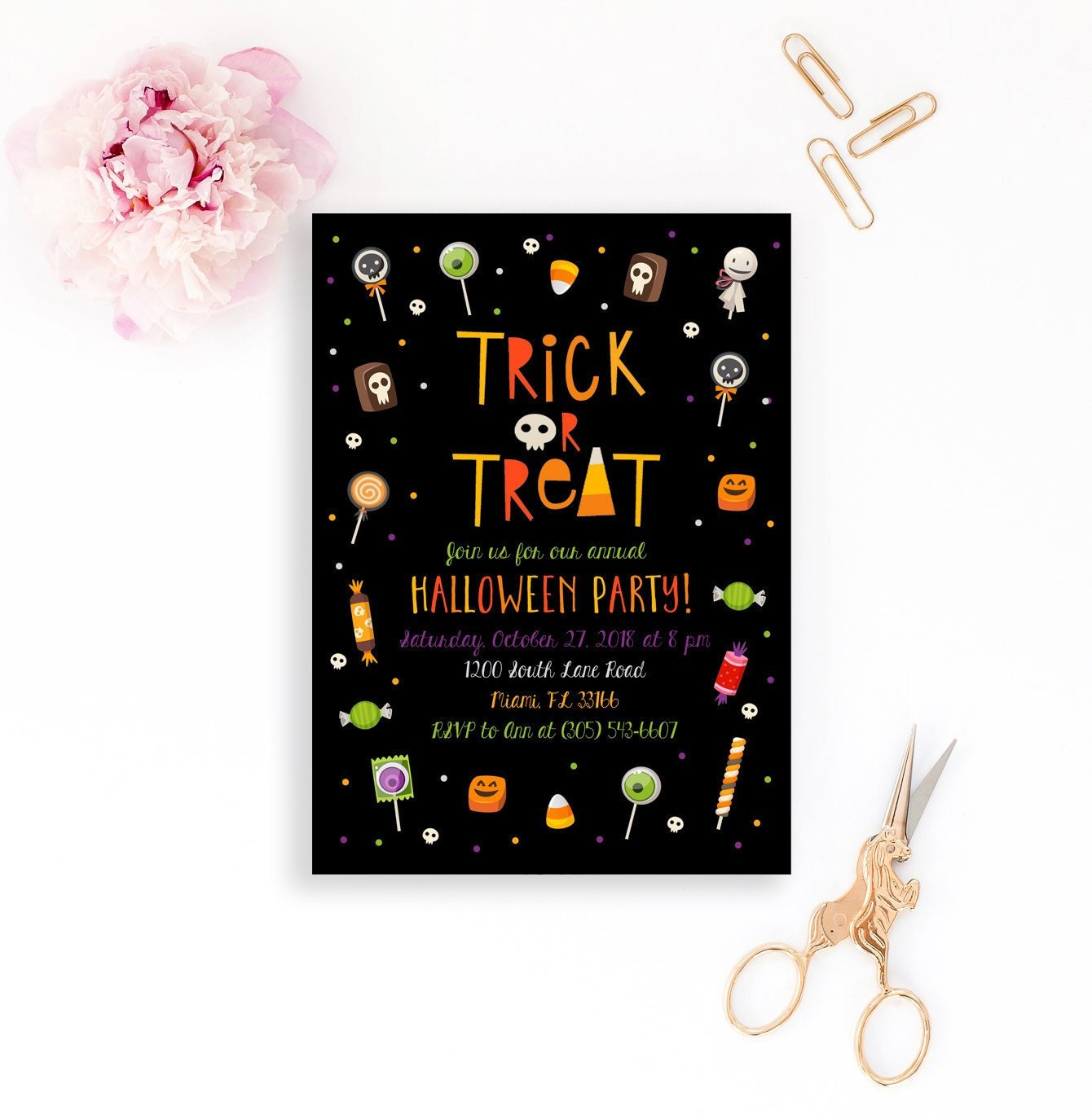 kids halloween party invitation, trick or treat halloween invitation