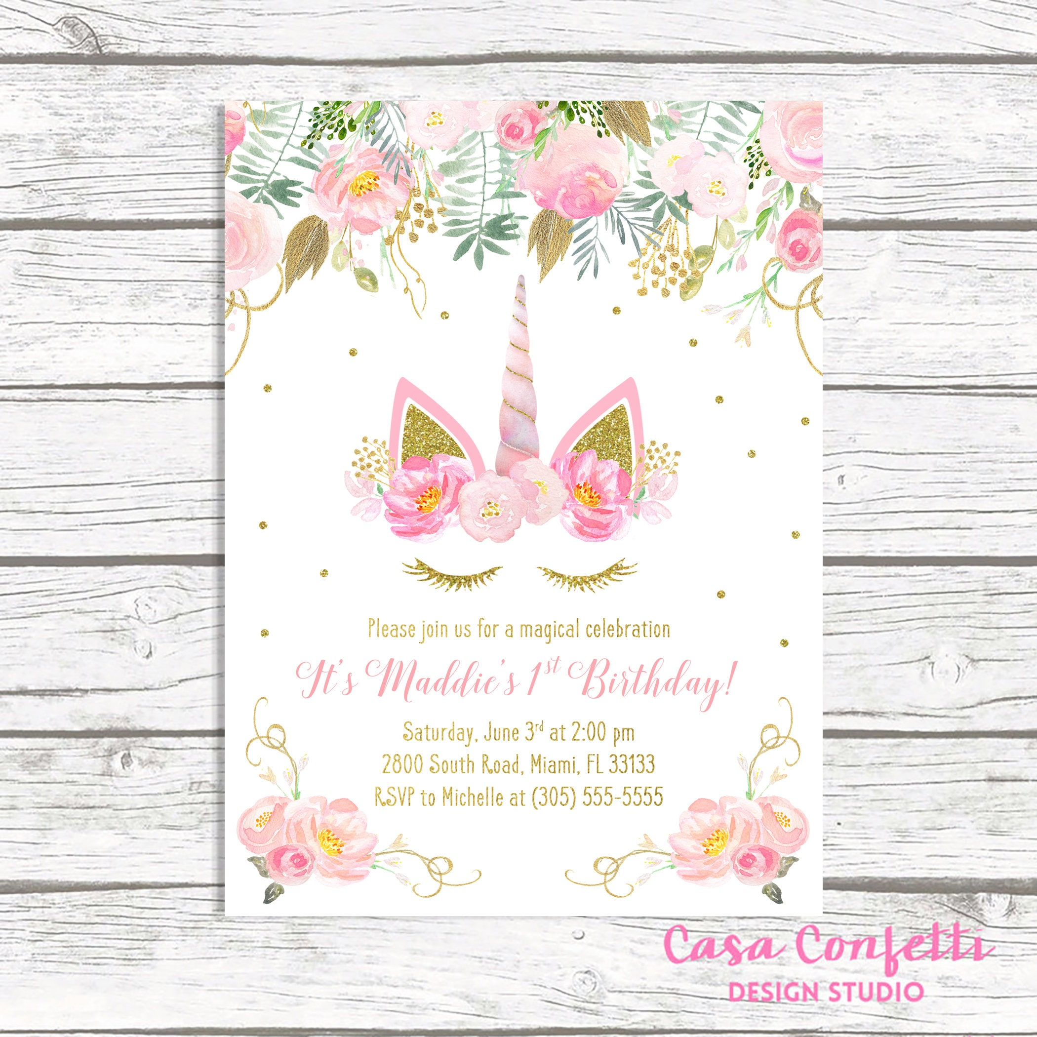 Unicorn Invitation Birthday Face Girl 1st First Party Pink And Gold Invite