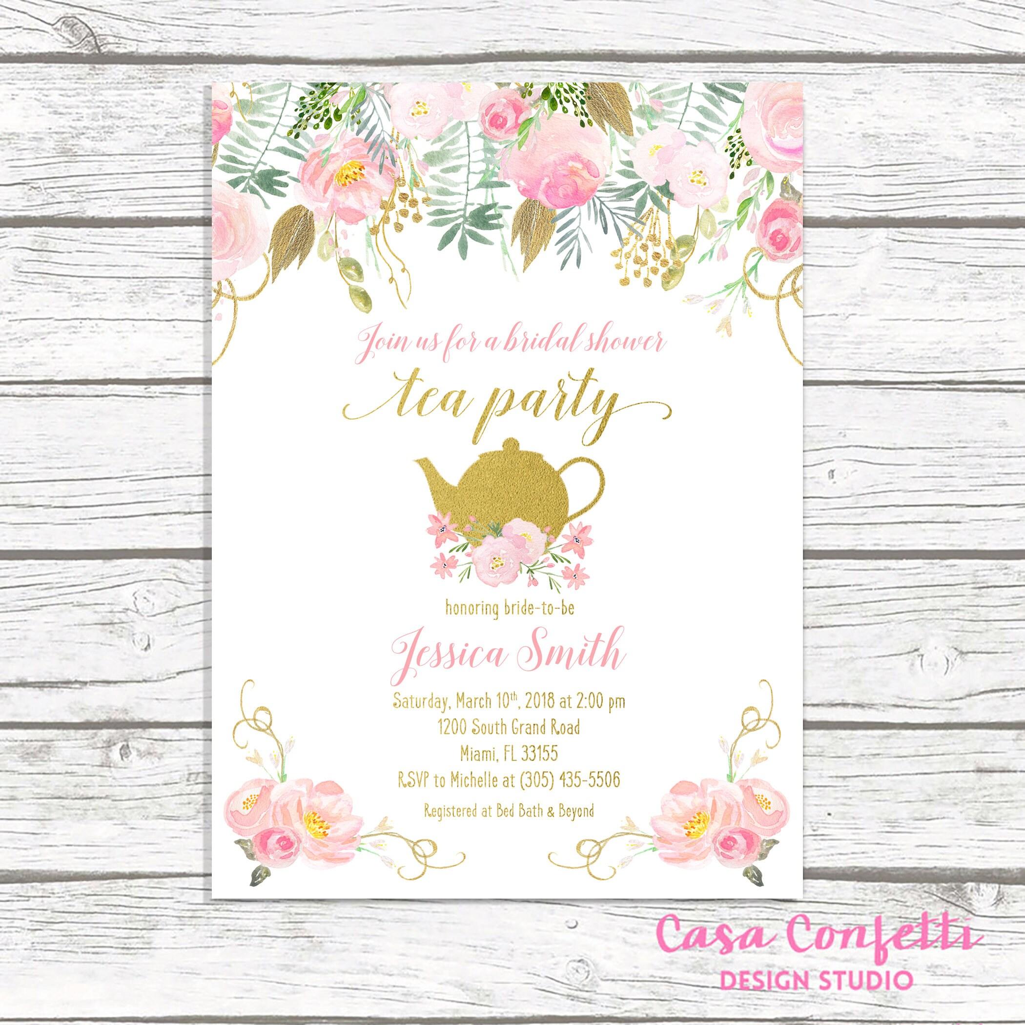 Tea Party Invitation Bridal Shower Invitation Bridal Tea
