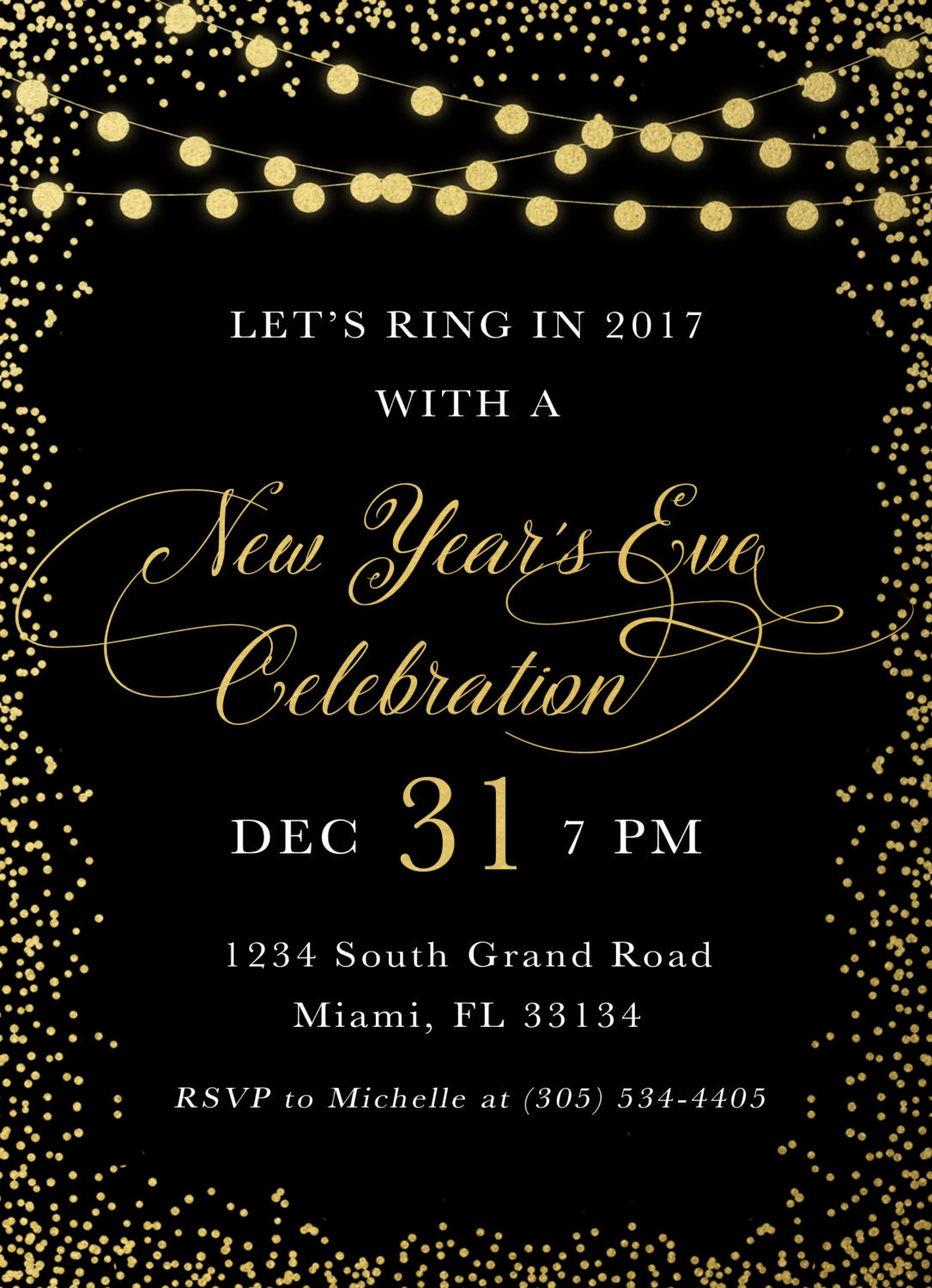 New Years Eve Invitation New Year S Eve Party Invitation Black And