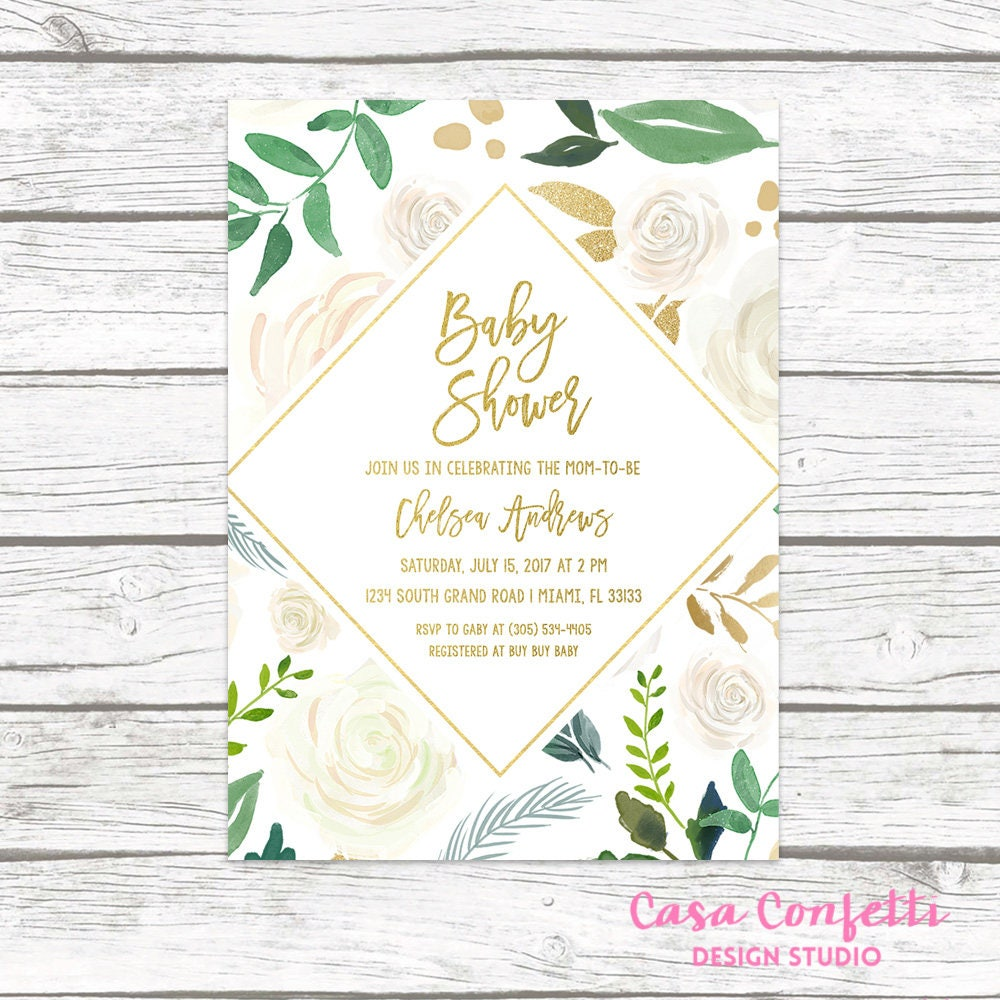 Baby Shower Brunch Invitation Gender Neutral Baby Shower