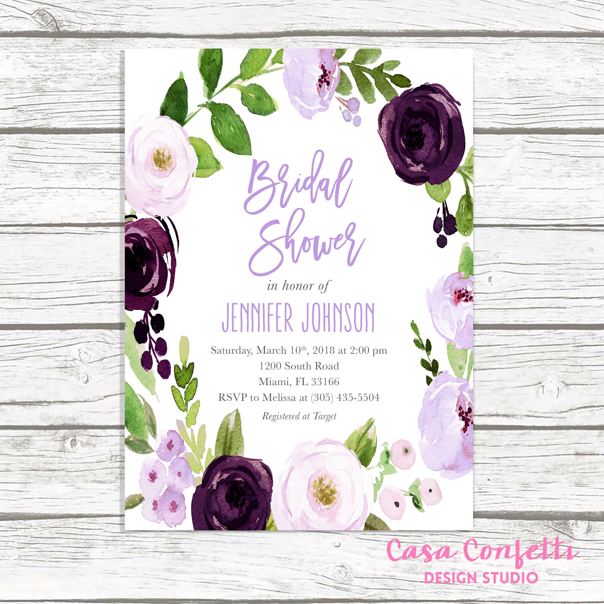 lavender bridal shower invitation purple bridal shower invitation purple floral bridal shower invitation eggplant bridal shower invite