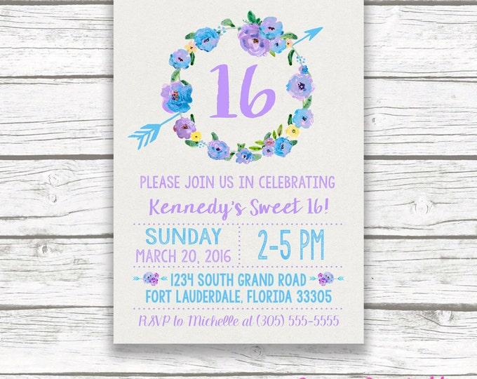 Purple and Turquoise Boho Sweet 16 Birthday Invitation, Girl 16th Birthday Lavender and Blue Floral Wreath, Boho Arrow Printable Invitation