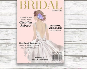 Bride Bridal Shower Invitation, Fashion Magazine Bridal Shower Invitation, Blush and Gold Bridal Shower Invite, Wedding Dress Invitation