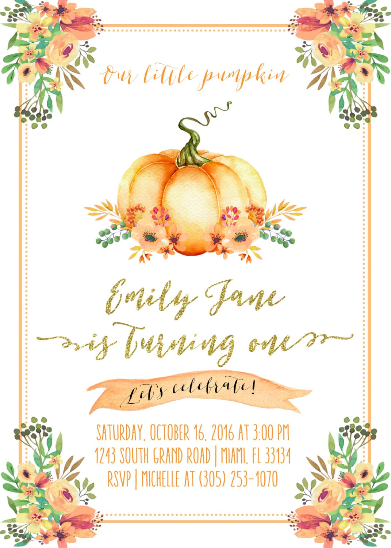 pumpkin birthday invitation pumpkin first 1st birthday invitation