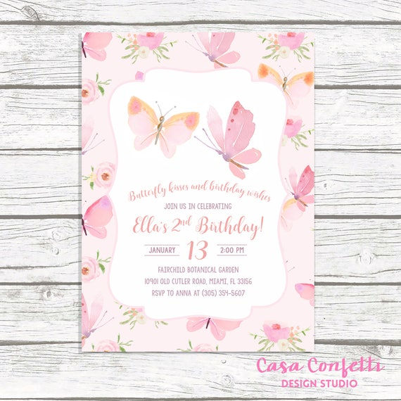 Butterfly Birthday Invitation Pink Girl 1st First Party