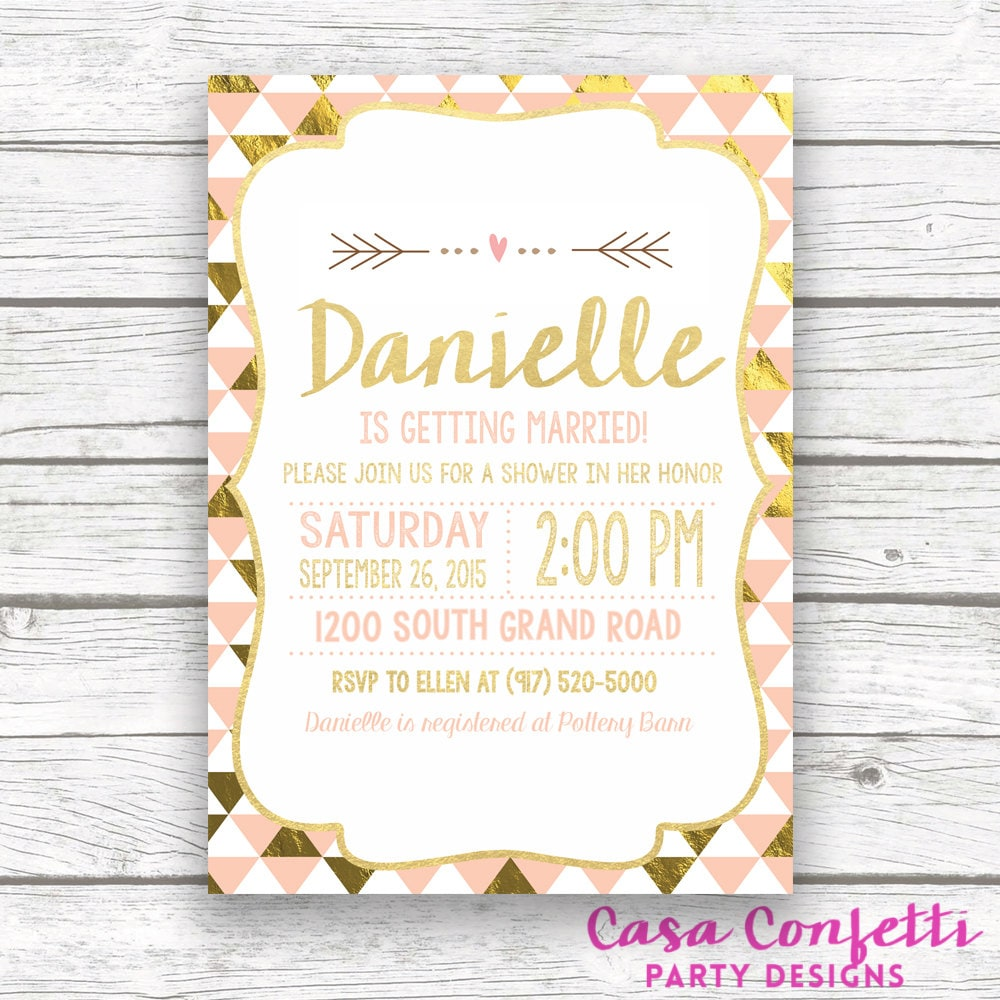 peach and gold foil bridal shower invitation triangle print modern bridal shower invite printed or printable invitation matching back