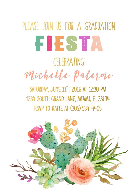fiesta graduation invitation cactus graduation invitation