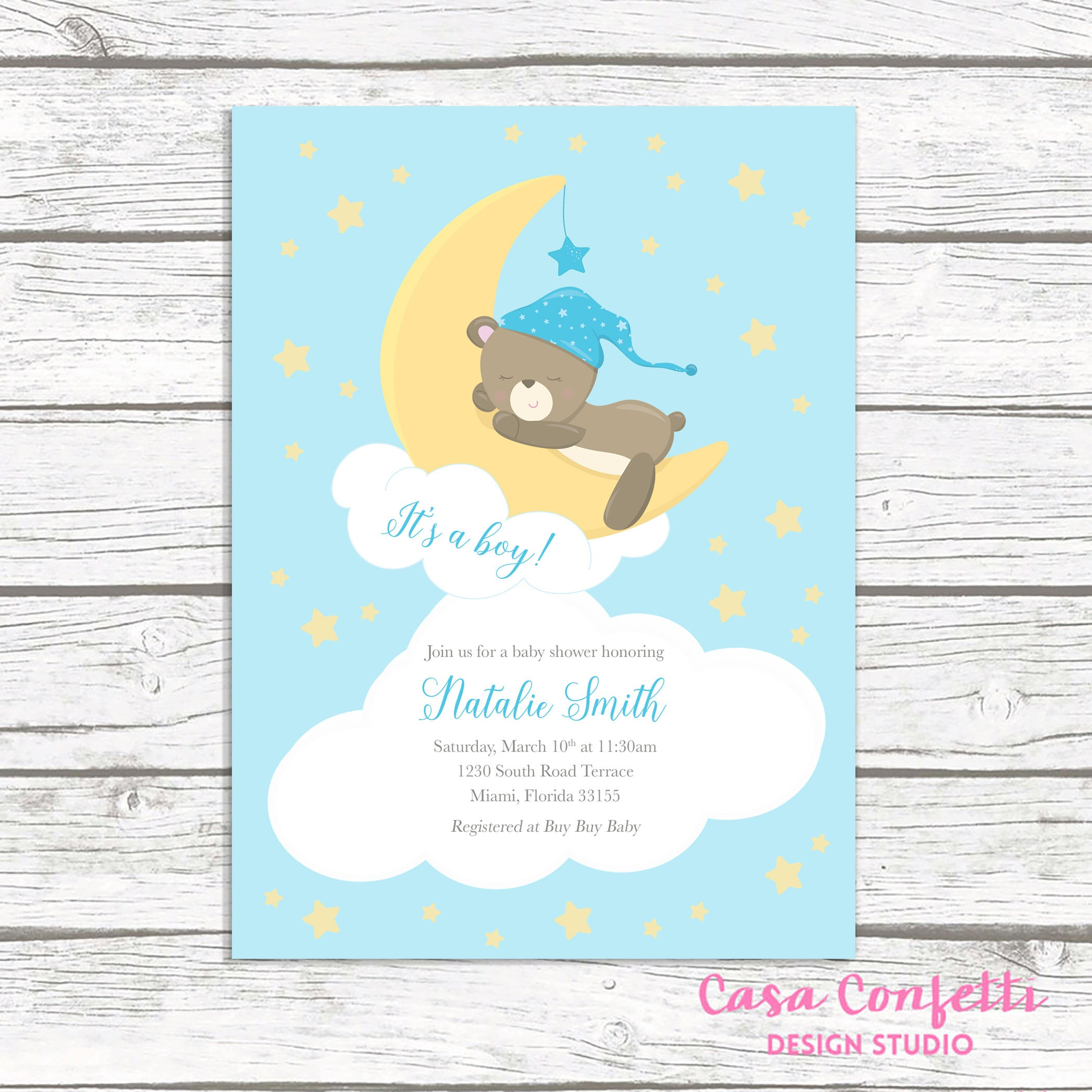 Moon Baby Shower Invitation Boy, Teddy Bear Baby Shower Invitation, It's a  B... Moon Baby Shower Invitation Boy, Teddy Bear Baby Shower Invitation, ...