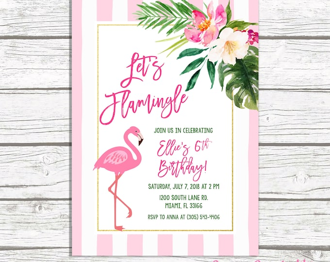 Flamingo Invitation, Flamingo Birthday Invitation, Tropical Birthday, Flamingle Invitation, First 1st Birthday Invitation, Pink and Green
