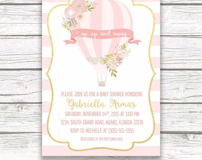 Hot Air Balloon Baby Shower Invitation, Hot Air Balloon Invitation Girl, Pink Hot Air Balloon Invite, Pink and Gold Printable Invite