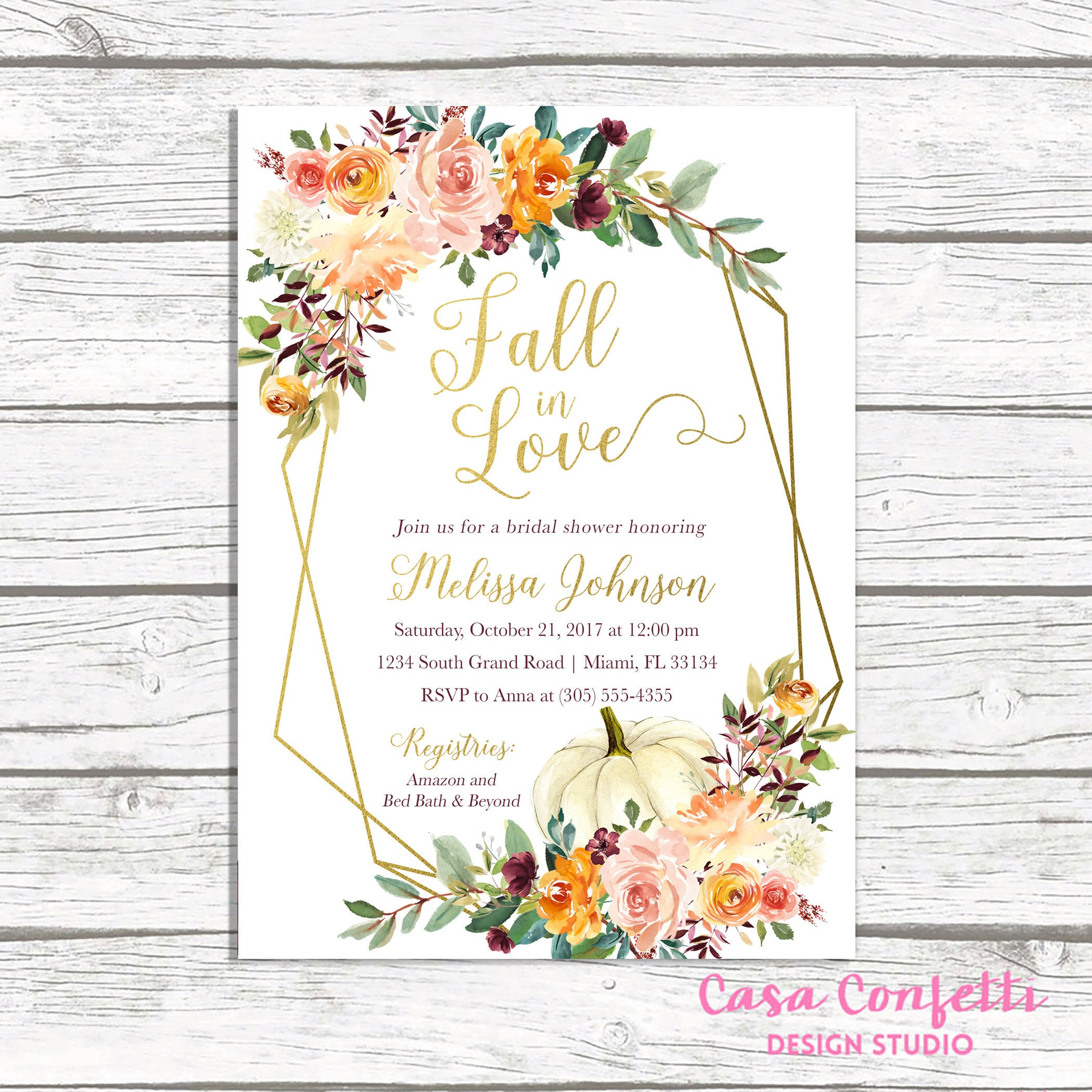 fall bridal shower invitation fall in love bridal shower invitation pumpkin bridal shower invitation falling in love bridal shower invite