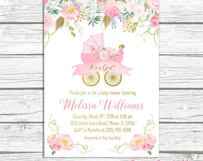 It's a Girl Baby Shower Invitation, Carriage Baby Shower Invitation, Pink Stroller Baby Shower Invite, Pink and Gold Pram Baby Shower Invite