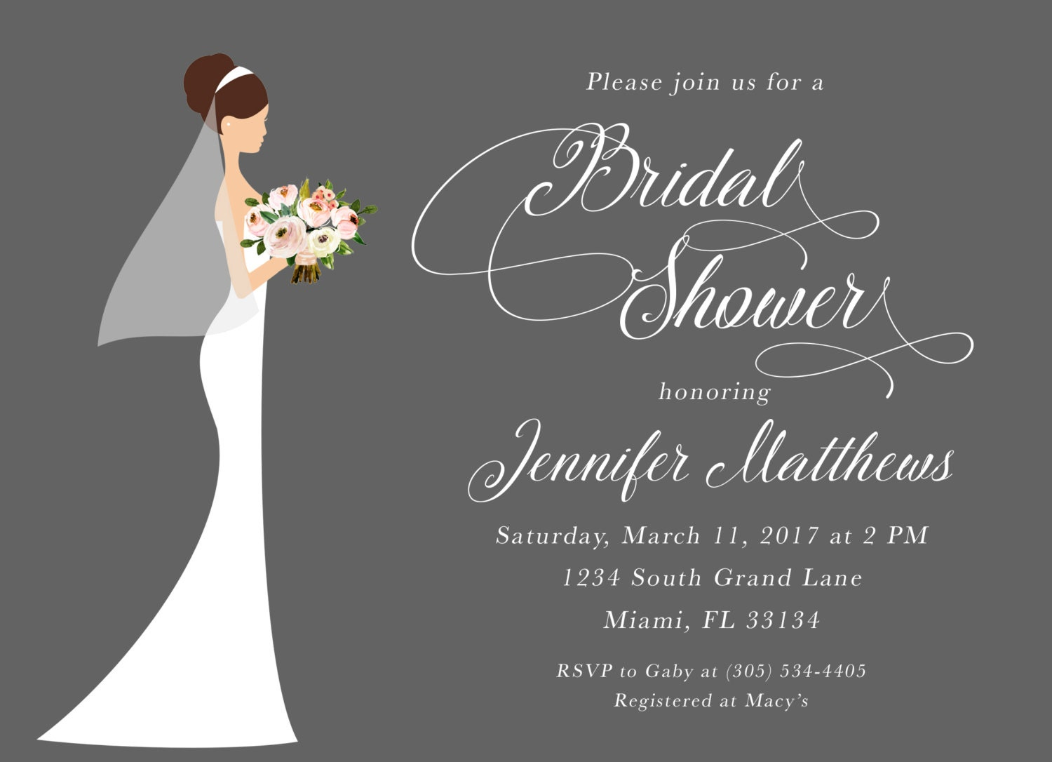 bridal shower invitation bride bridal shower invitation classic bridal shower wedding dress invitation printable invite