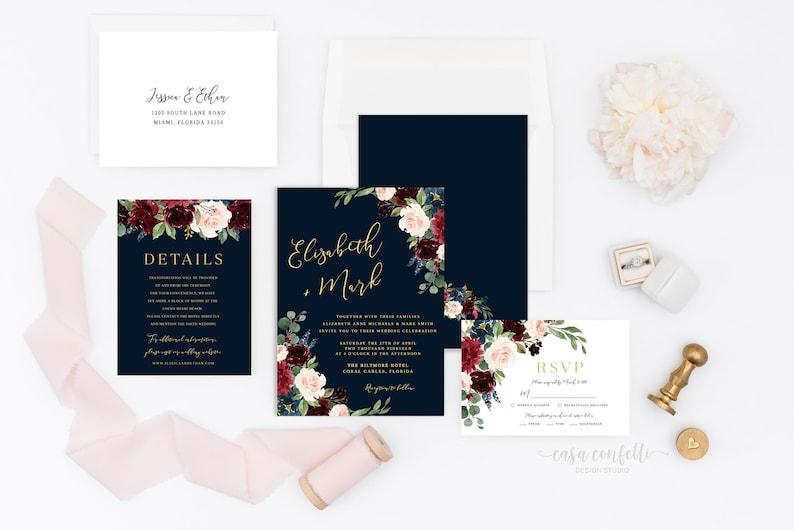 Burgundy and Navy Wedding Invitation Suite Navy and Gold Floral Wedding Invitation Burgundy Geometric Wedding Invitation