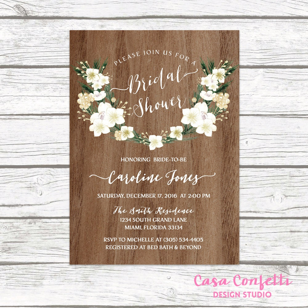 winter bridal shower invitation rustic bridal shower invitation christmas bridal shower invitation white floral bridal shower invite