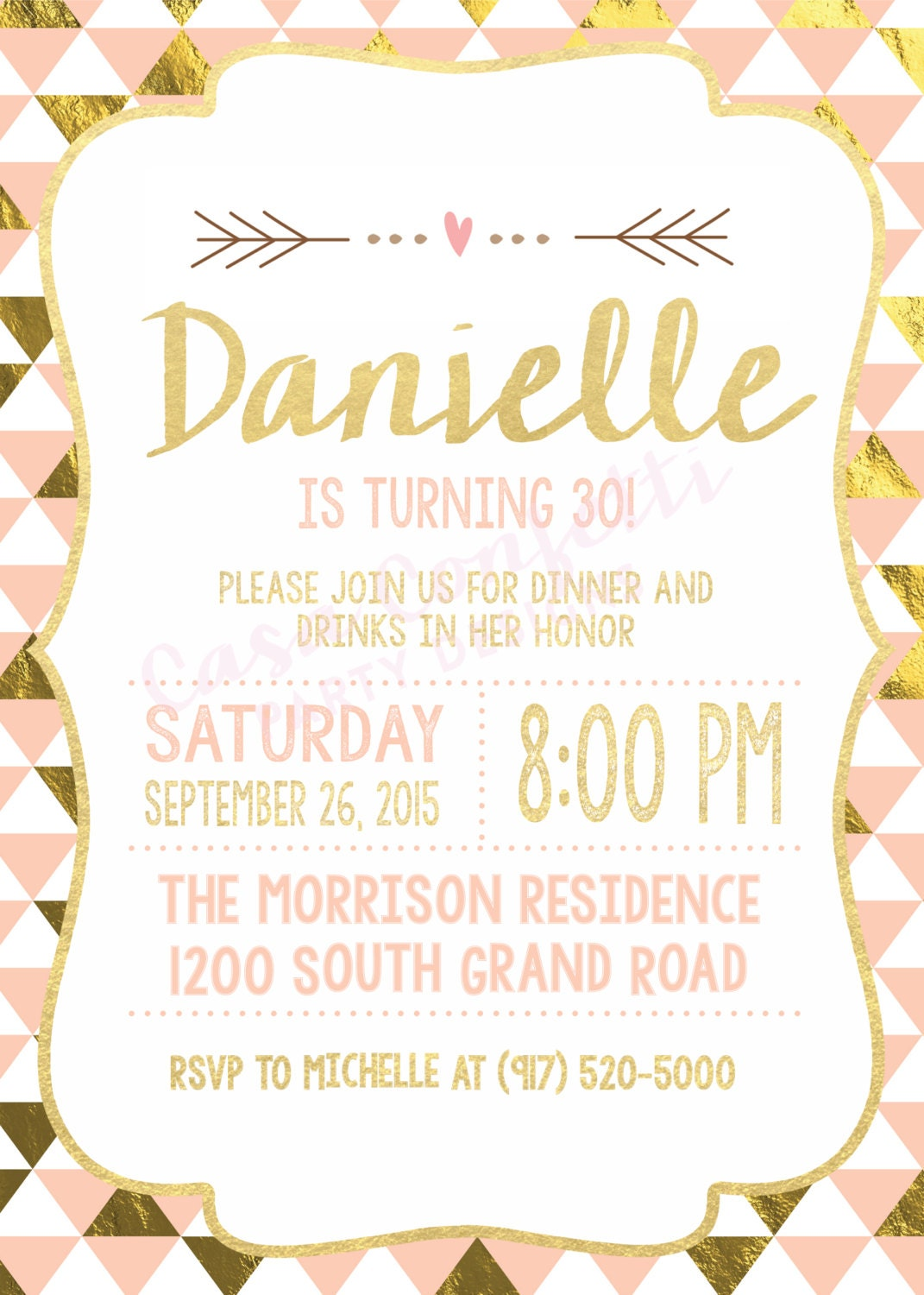 Peach and Gold Foil 30th Birthday Party Invitation, Dirty 30, Flirty ...
