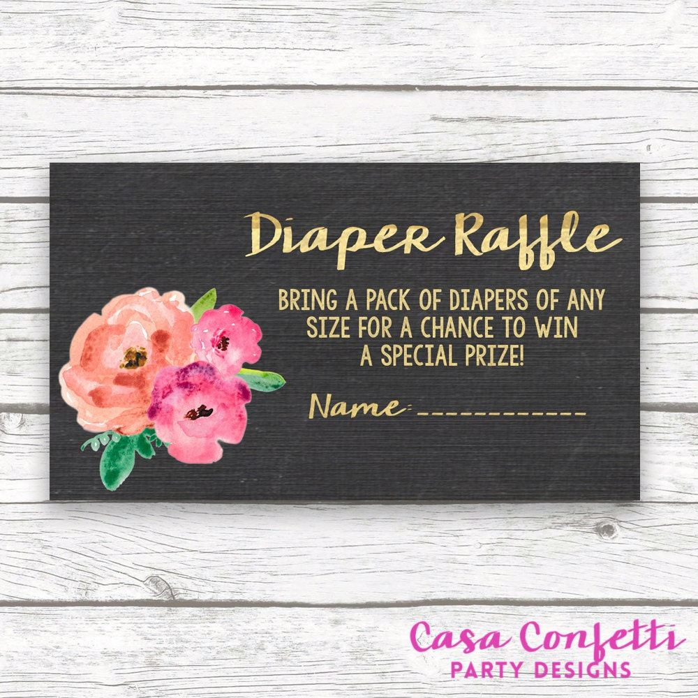 Chalkboard Gold Foil Floral Baby Shower Diaper Raffle Ticket