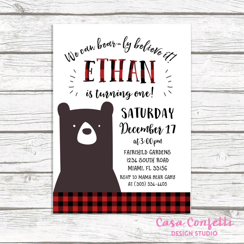 bear birthday invitation lumberjack birthday invitation first 1st