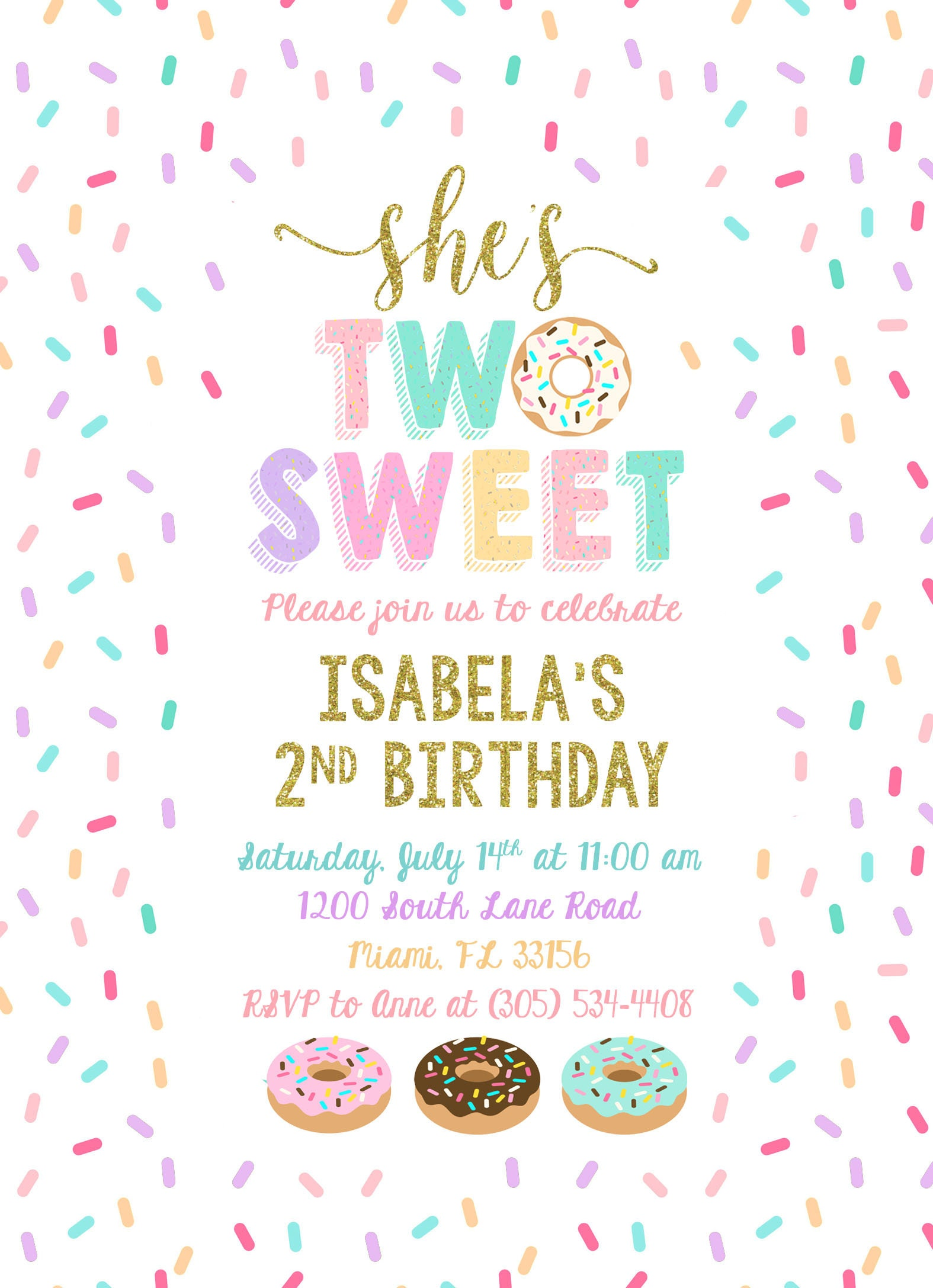 two sweet donut invitation  donut party invitation