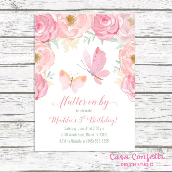 Butterfly Birthday Invitation Pink Floral Girl 1st First Party