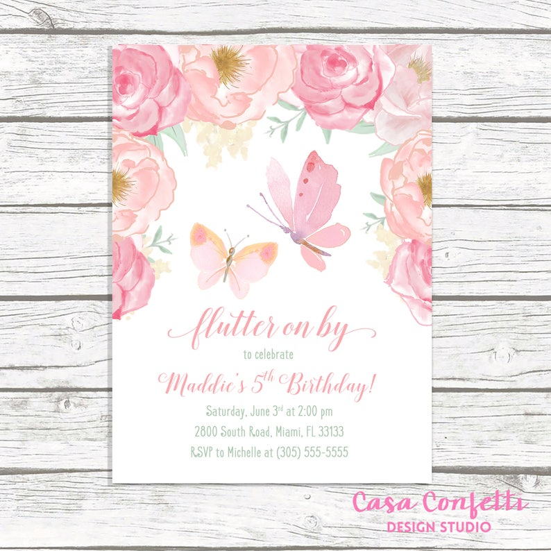 Butterfly Birthday Invitation Pink