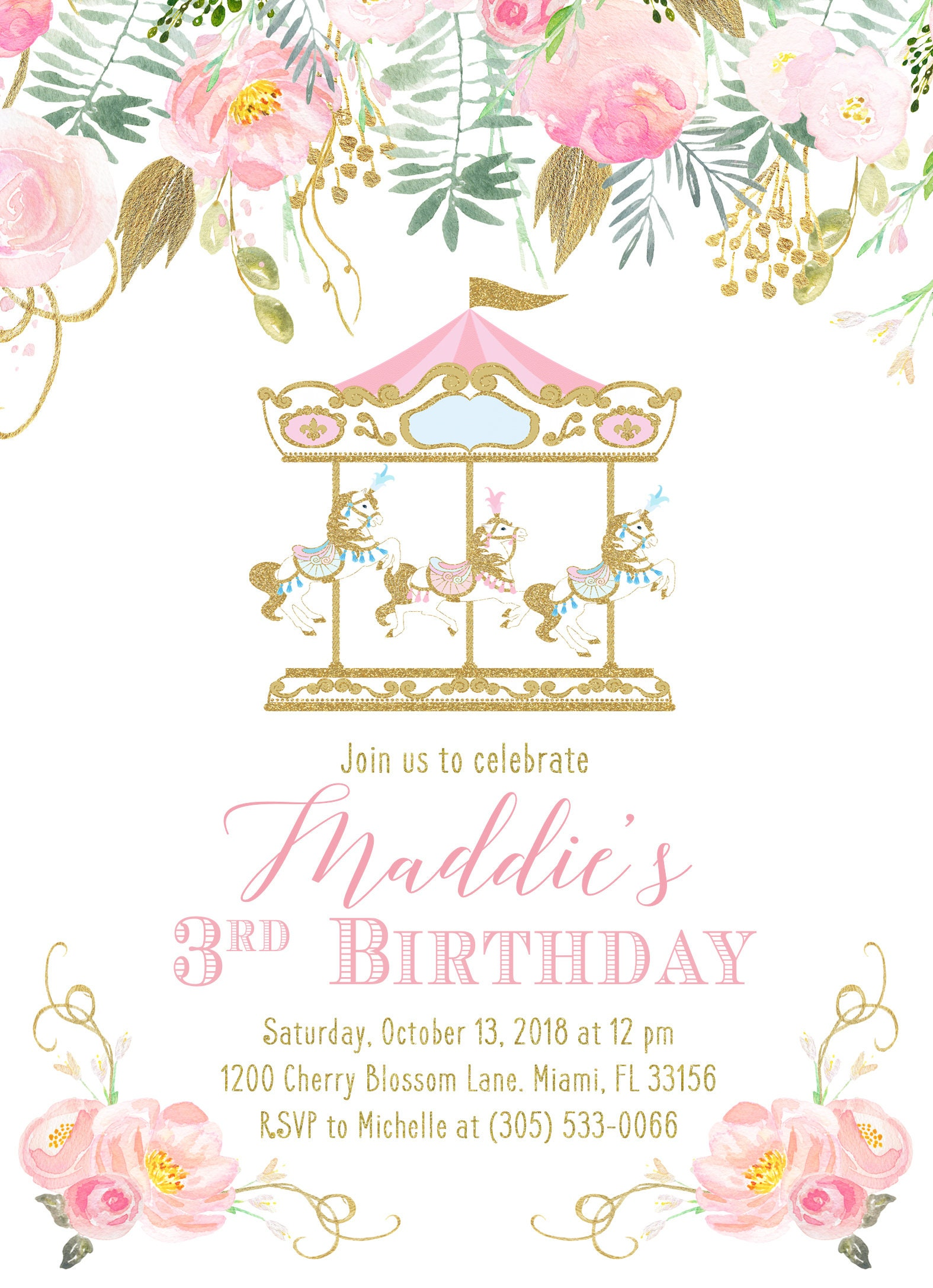 carousel girl birthday invitation  carousel invitation  girl 1st first birthday  pink circus