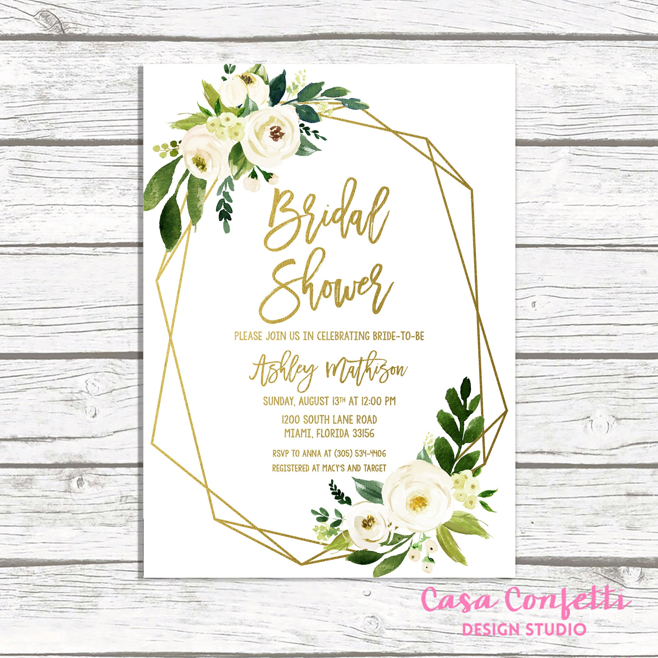 White Floral Bridal Shower Invitation, Geometric Frame Invitation ...