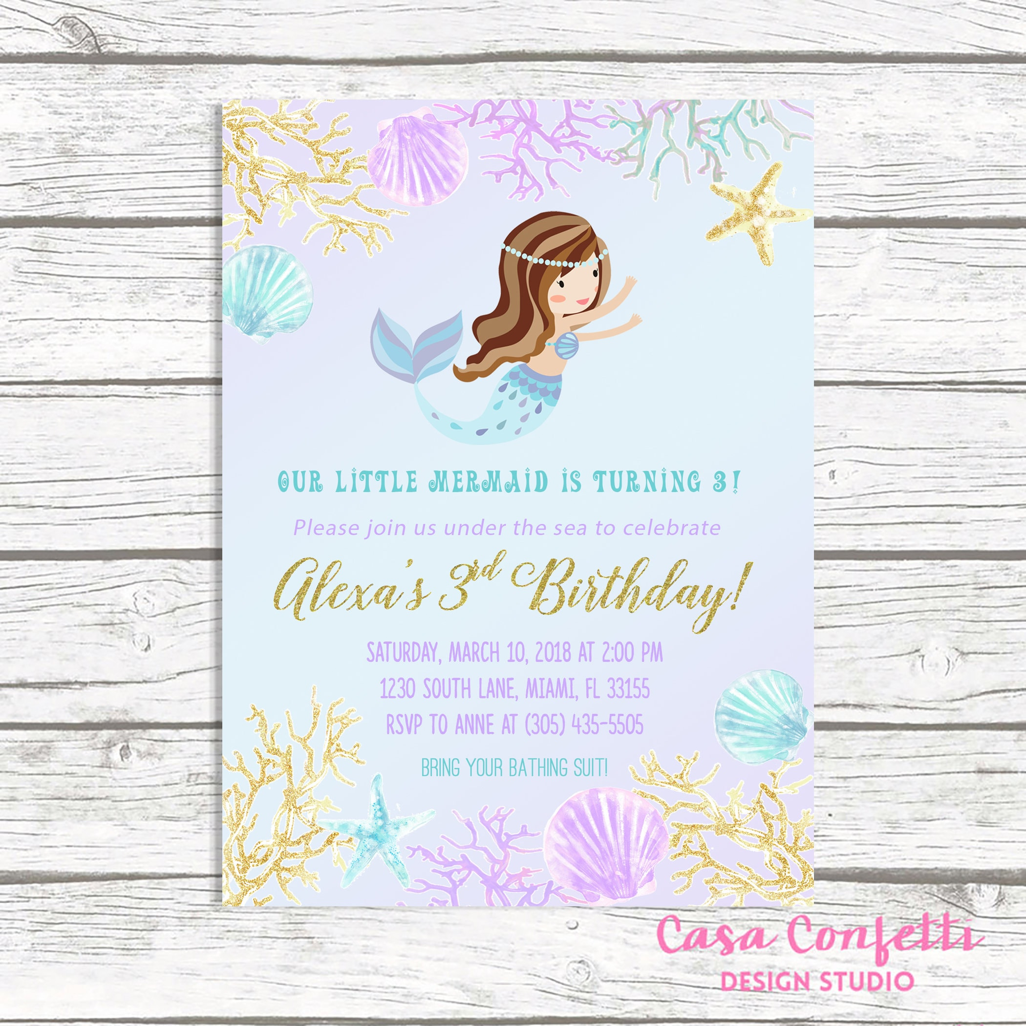 Mermaid Invitation Birthday Invite Under The Sea Girl 1st First Party Printable