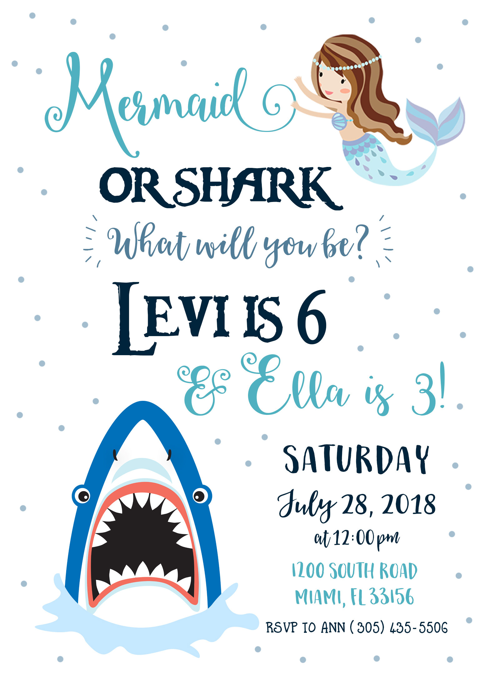 Party Invite Shark Mermaid Boy Girl Birthday Gallery Photo