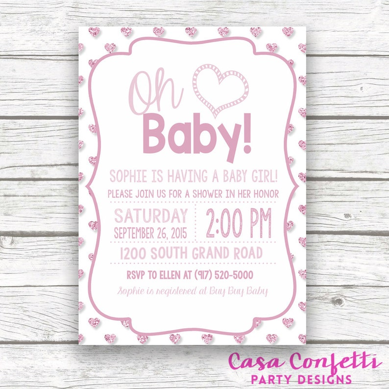 Oh Baby Pink Glitter Baby Shower Invitation W Matching Back Etsy